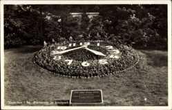 Postcard Hainichen in Sachsen, Blick auf die Blumenuhr im Stadtpark, 750 Jahrfeier