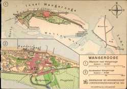 Landkarten Ak Wangerooge in Friesland, Westanleger, Dorfgroden, Harle, Flugplatz