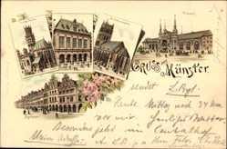 Litho Münster in Westfalen, Bahnhof, Liebfrauenkirche, Bogenhäuser, Akademie