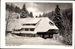 Postcard Multen Aitern Schwarzwald, Blick auf das Gasthaus Belchen im Winter
