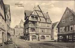 Postcard Kirchhain Hessen, Blick auf die Gänseburg, Fachwerkhaus, Ferdinand Kass