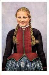 Postcard Hessische Trachten Nr. 291, Schlitzer Mädchen, Portrait, Hessen