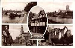 Postcard Worcester West Midlands England, Bridge, Cathedral, Cross, Queens House