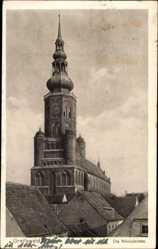 Postcard Greifswald in Mecklenburg Vorpommern, Ortschaft mit Blick auf Nikolaikirche