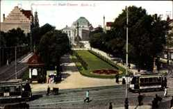 Postcard Halle an der Saale, Alte Promenade mit Stadt Theater, Straßenbahn