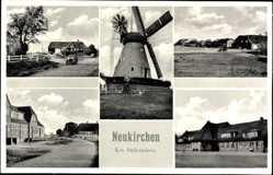 Postcard Neukirchen Nordfriesland, Windmühle, Straßenpartie, Auto, Häuser