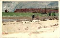 Künstler Litho Kley, Helgoland in Schleswig Holstein, Strandpartie, Segelboote