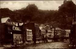 Postcard Idar Oberstein an der Nahe, Flusspartie mit Blick auf den Ort, Burg