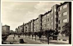 Postcard Helsingborg Schweden, Drottninggatan, Wohnhäuser, Straßenpartie
