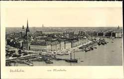 Postcard Stockholm Schweden, Blick von Mosebacke, Vogelschau, Hafen