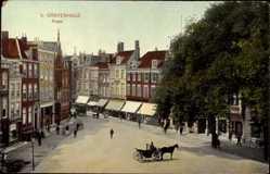Postcard Den Haag Südholland Niederlande, Plaats, Markt, Pferdekutsche