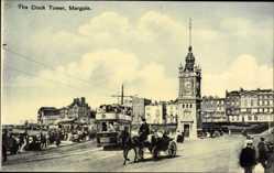 Postcard Margate South East England, The Clock Tower, Turmuhr, Straßenbahn