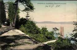 Postcard Uddevalla Schweden, Gustafsberg, Strandpromenade, Boot