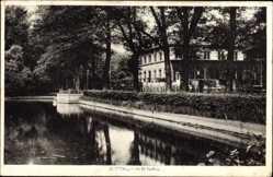 Postcard Weinau Zittau, Gewässer, Gebäude, Bäume, Laterne, Zaun
