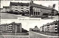 Postcard Büdelsdorf, Stadtansichten, Gebäude, Straßenpartie, Laternen