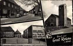 Postcard Groß Reken Westfalen, Stadtansichten, Volksschule, Kirche, Dorf