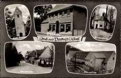 Postcard Darun Nottuln Westfalen, Kirche, Bäckerei, Waldkapelle, Hauptstraße, Schule