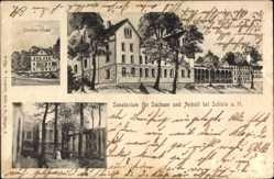 Postcard Schielp Harzgerode im Harz, Doktor Haus, Sanatorium, Besucher
