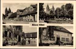 Postcard Aken an der Elbe Sachsen Anhalt, Kirchstraße, Friedensplatz, Rathaus, Postamt