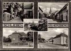Postcard Schlieben, Stadtansichten, Gasthof zur Linde, Inh. H. Böttcher, Lange Straße