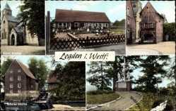 Postcard Legden in Westfalen, Kirche, Kindergarten, Taubenschlag, Düster Mühle
