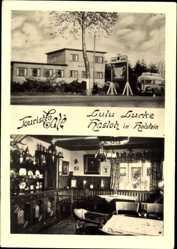 Postcard Hasloh in Holstein, Touristen Cafe Lulu Lucke, Innenansicht, Reisebus