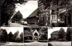 Postcard Graes Ahaus Westfalen, Gasthof Elkemann, St. Josefs Kirche, Volksschule