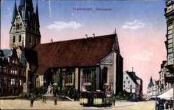 Postcard Flensburg in Schleswig Holstein, Partie am Südermarkt, Straßenbahn, Kirche