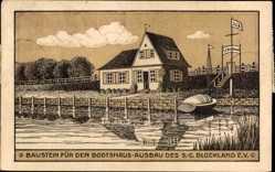 Künstler Ak Bremen, Baustein für den Bootshaus Ausbau, Anlegestelle