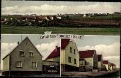 Postcard Eiweiler Hensweiler Saar, Stadtpanorama, Geschäft, Häuserzeile
