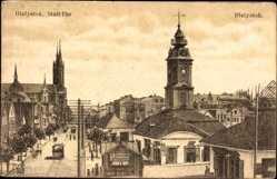 Ak Białystok Ostpreußen, Stadtuhr, Turmuhr, Kirche links