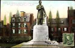 Postcard Waltheim Massachusetts USA, Statue of General Banks Statesman