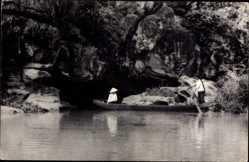 Postcard Vietnam, Hanf son Thuy Huu tinh, Anh, Dao Thien Vy, Boot, Einheimischer