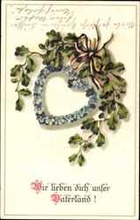Postcard Wir lieben dich unser Vaterland, Eichenlaub, Herz, Patriotik, Kaiserreich,BNK