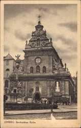 Postcard Lwów Lemberg Ukraine, Ansicht der Berhardiner Kirche, Denkmal