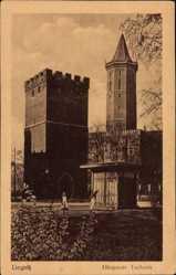 Ak Legnica Liegnitz Schlesien, Blick auf den Glogauer Torturm, Zinnen