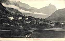 Postcard Romsdalen Norwegen, Ved Aak, Blick auf Häuser in der Landschaft, Gebirge