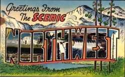 Buchstaben Ak Spokane Washington USA, Scenic Northwest, Gebirge