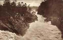 Postcard Trollhättan Schweden, Flusspartie, Felsen, Wald, Landschaft