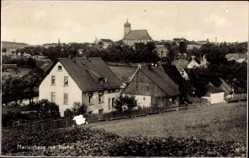 Postcard Marienberg im Erzgebirge Sachsen, Stadt mit Dörfel, Blick zur Kirche