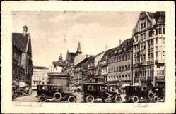 Postcard Chemnitz Sachsen, Markt mit Reiterstatue, Autos, Lindau Winterfeld