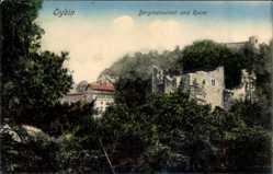 Postcard Oybin in Sachsen, Blick auf Bergrestaurant und Ruine