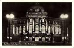 Postcard Chemnitz Sachsen, Opernhaus am Abend, Vogelhändler