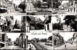 Postcard Peine in Niedersachsen, Fontäne im Park, Altstadt, Bahnhof, Kirche