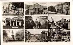 Postcard Karlsruhe in Baden Württemberg, Schlossgarten, Zierbrunnen, Kaiserdenkmal