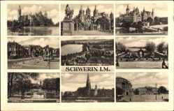 Postcard Schwerin in Mecklenburg Vorpommern, Schloss, Burggarten, Pfaffenteich