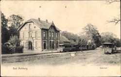 Postcard Rehburg Loccum in Niedersachsen, Bahnhof mit Zügen