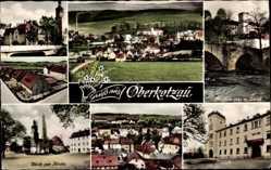 Postcard Oberkotzau in Oberfranken Bayern, Kirche, Schloss, Pfeifferbrücke