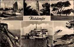 Postcard Insel Hiddensee in der Ostsee, Leuchtturm, Fähre, Strand