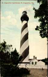 Postcard St. Augustine Florida USA, General view of the Lighthouse